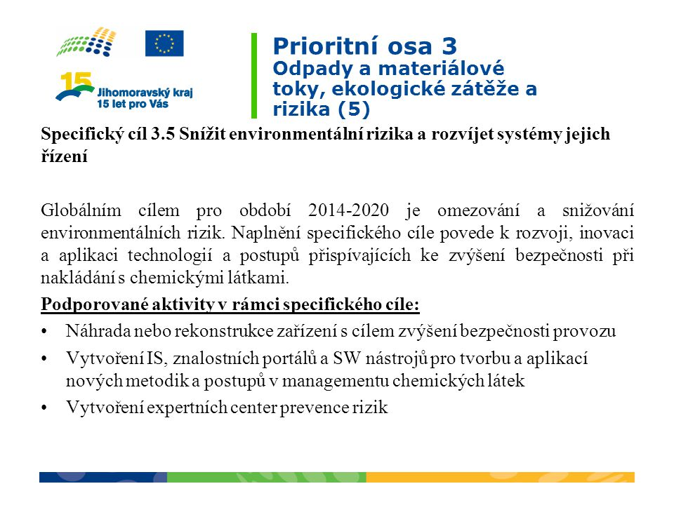 Prioritní osa 3 Odpady a materiálové toky, ekologické zátěže a rizika (5) Specifický cíl 3.5 Snížit environmentální rizika a rozvíjet systémy jejich řízení Globálním cílem pro období 2014-2020 je omezování a snižování environmentálních rizik.