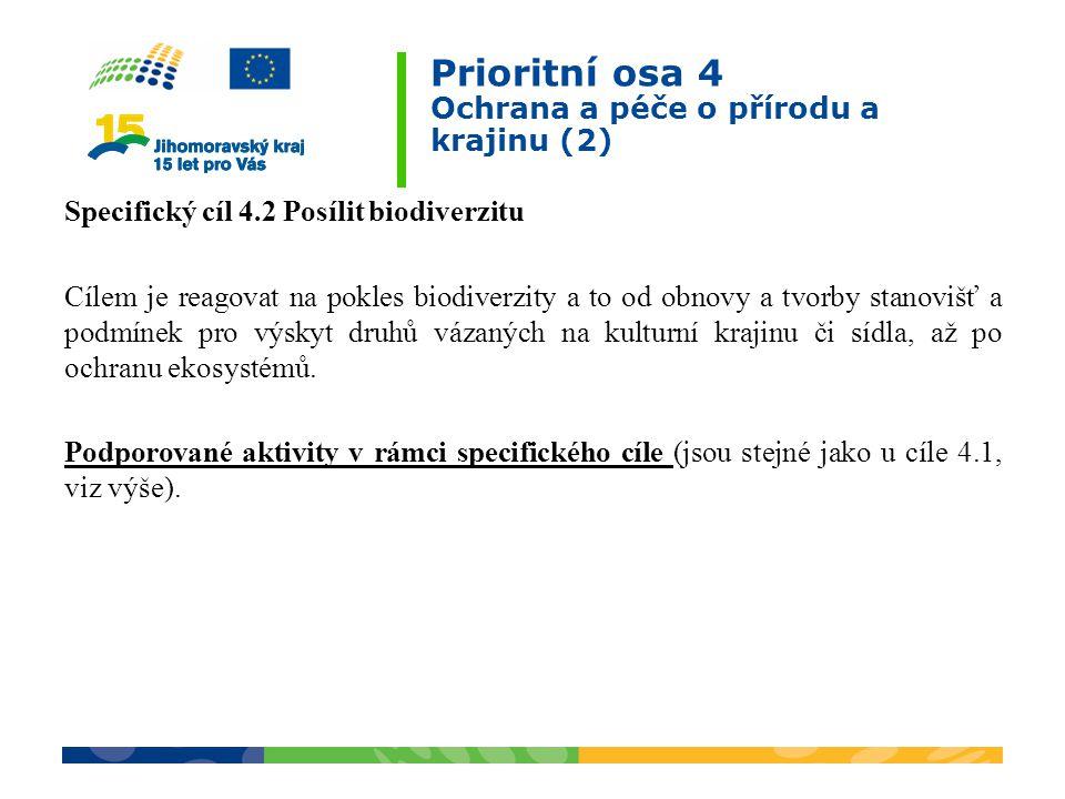 Prioritní osa 4 Ochrana a péče o přírodu a krajinu (2) Specifický cíl 4.2 Posílit biodiverzitu Cílem je reagovat na pokles biodiverzity a to od obnovy a tvorby stanovišť a podmínek pro výskyt druhů vázaných na kulturní krajinu či sídla, až po ochranu ekosystémů.