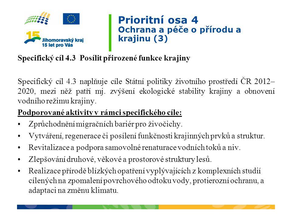 Prioritní osa 4 Ochrana a péče o přírodu a krajinu (3) Specifický cíl 4.3 Posílit přirozené funkce krajiny Specifický cíl 4.3 naplňuje cíle Státní politiky životního prostředí ČR 2012– 2020, mezi něž patří mj.
