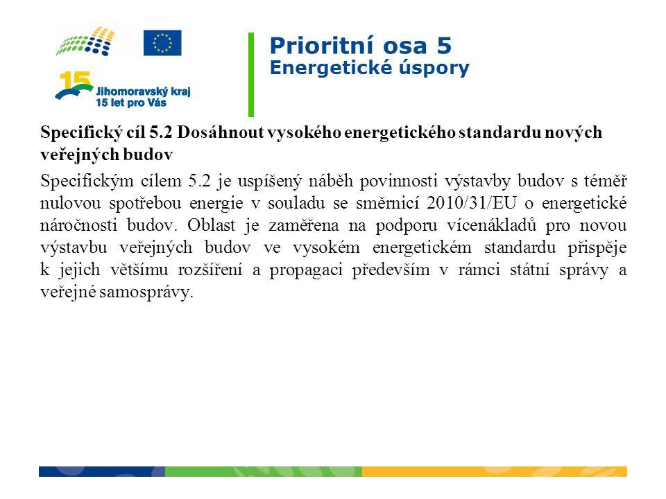 Prioritní osa 5 Energetické úspory Specifický cíl 5.2 Dosáhnout vysokého energetického standardu nových veřejných budov Specifickým cílem 5.2 je uspíšený náběh povinnosti výstavby budov s téměř nulovou spotřebou energie v souladu se směrnicí 2010/31/EU o energetické náročnosti budov.