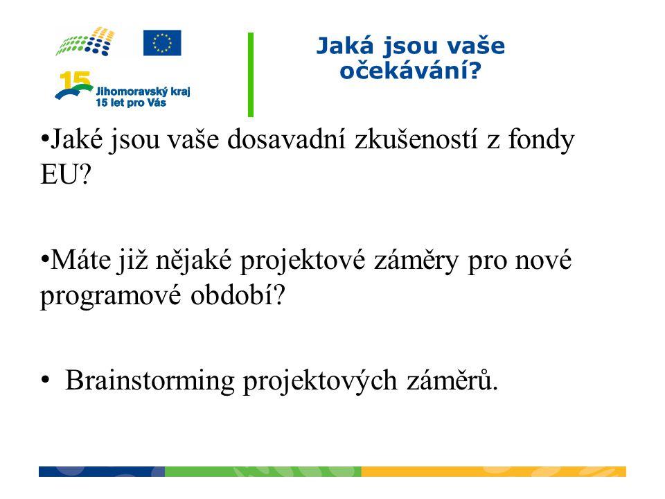 Jaká jsou vaše očekávání? Jaké jsou vaše dosavadní zkušeností z fondy EU? Máte již nějaké projektové záměry pro nové programové období? Brainstorming