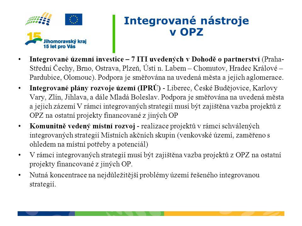 Integrované nástroje v OPZ Integrované územní investice – 7 ITI uvedených v Dohodě o partnerství (Praha- Střední Čechy, Brno, Ostrava, Plzeň, Ústí n.