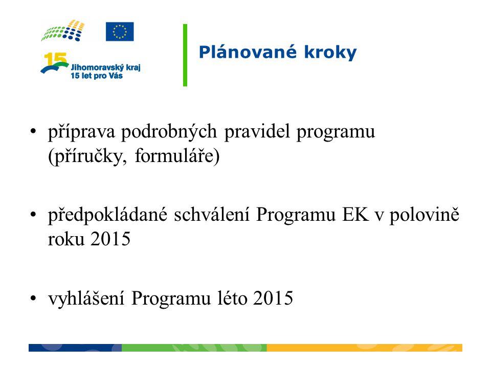 Plánované kroky příprava podrobných pravidel programu (příručky, formuláře) předpokládané schválení Programu EK v polovině roku 2015 vyhlášení Program