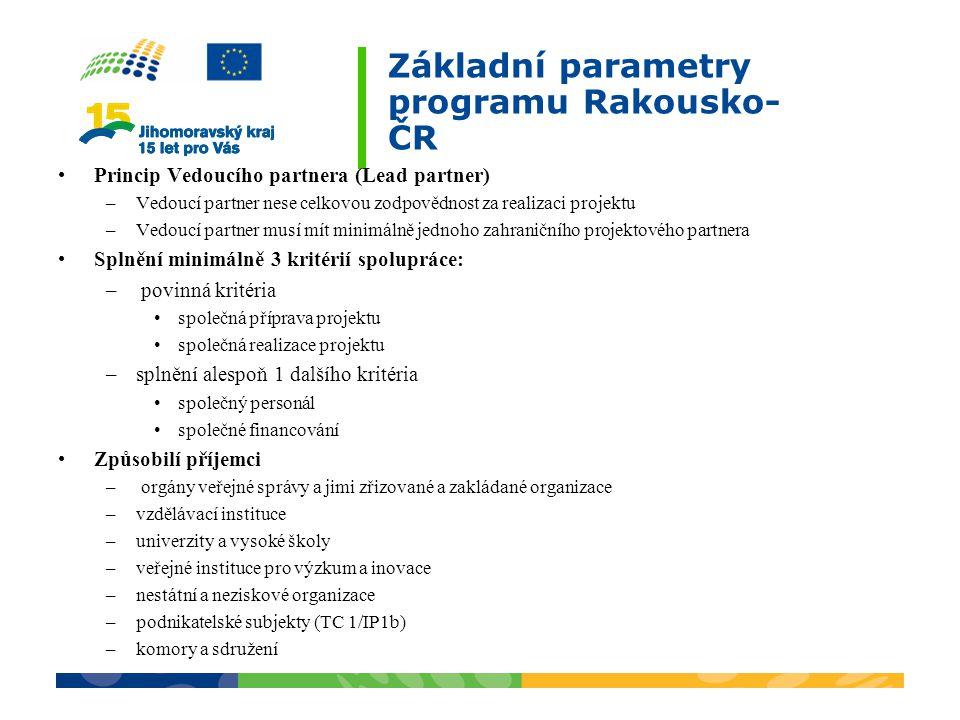 Základní parametry programu Rakousko- ČR Princip Vedoucího partnera (Lead partner) –Vedoucí partner nese celkovou zodpovědnost za realizaci projektu –