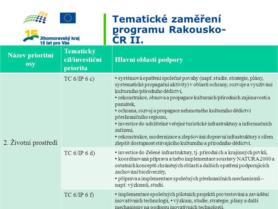 Tematické zaměření programu Rakousko- ČR II. Název prioritní osy Tematický cíl/investiční priorita Hlavní oblasti podpory 2. Životní prostředí TC 6/IP