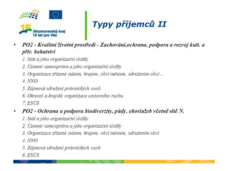Typy příjemců II PO2 - Kvalitní životní prostředí - Zachování,ochrana, podpora a rozvoj kult. a přír. bohatství 1. Stát a jeho organizační složky 2. Ú