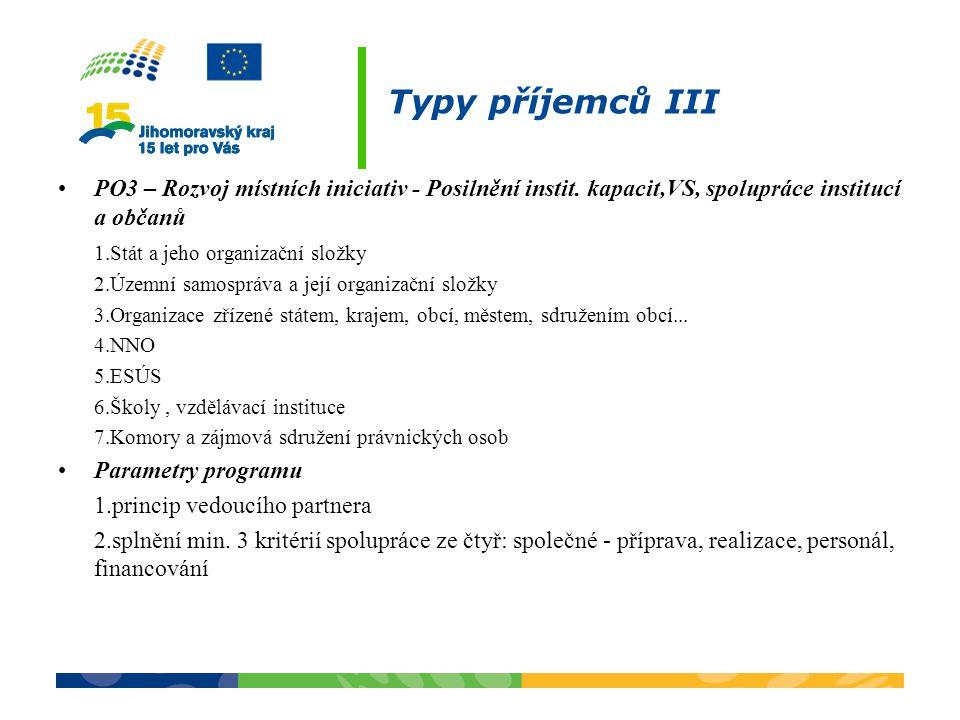 Typy příjemců III PO3 – Rozvoj místních iniciativ - Posilnění instit. kapacit,VS, spolupráce institucí a občanů 1.Stát a jeho organizační složky 2.Úze