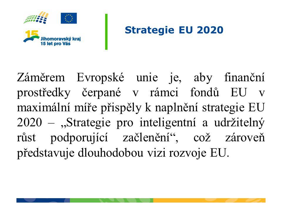 """Strategie EU 2020 Záměrem Evropské unie je, aby finanční prostředky čerpané v rámci fondů EU v maximální míře přispěly k naplnění strategie EU 2020 – """"Strategie pro inteligentní a udržitelný růst podporující začlenění , což zároveň představuje dlouhodobou vizi rozvoje EU."""