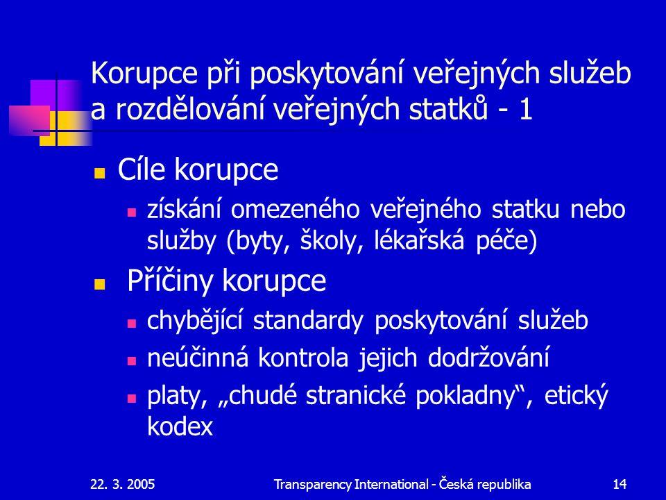 22. 3. 2005Transparency International - Česká republika14 Korupce při poskytování veřejných služeb a rozdělování veřejných statků - 1 Cíle korupce zís
