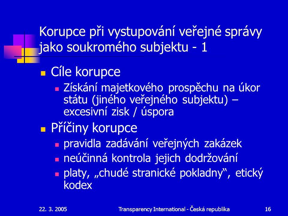 22. 3. 2005Transparency International - Česká republika16 Korupce při vystupování veřejné správy jako soukromého subjektu - 1 Cíle korupce Získání maj