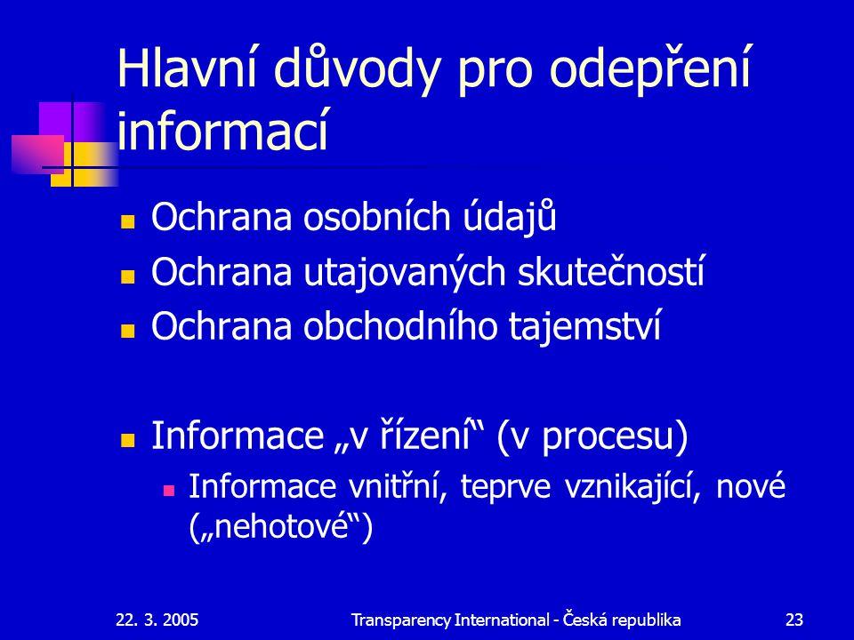 22. 3. 2005Transparency International - Česká republika23 Hlavní důvody pro odepření informací Ochrana osobních údajů Ochrana utajovaných skutečností