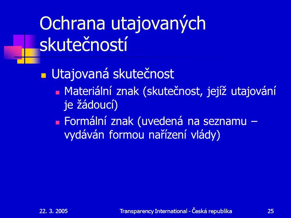 22. 3. 2005Transparency International - Česká republika25 Ochrana utajovaných skutečností Utajovaná skutečnost Materiální znak (skutečnost, jejíž utaj