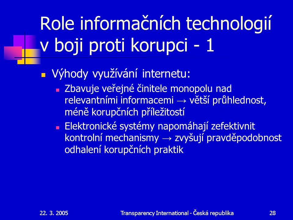 22. 3. 2005Transparency International - Česká republika28 Role informačních technologií v boji proti korupci - 1 Výhody využívání internetu: Zbavuje v