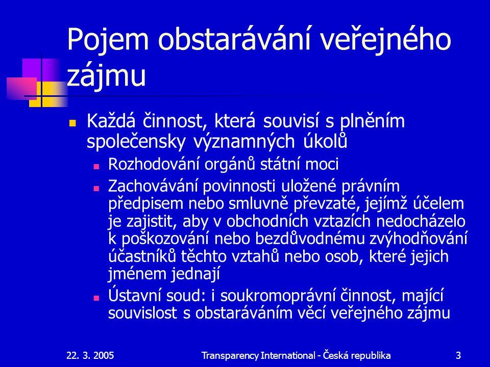 22. 3. 2005Transparency International - Česká republika3 Pojem obstarávání veřejného zájmu Každá činnost, která souvisí s plněním společensky významný