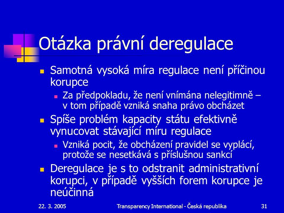 22. 3. 2005Transparency International - Česká republika31 Otázka právní deregulace Samotná vysoká míra regulace není příčinou korupce Za předpokladu,