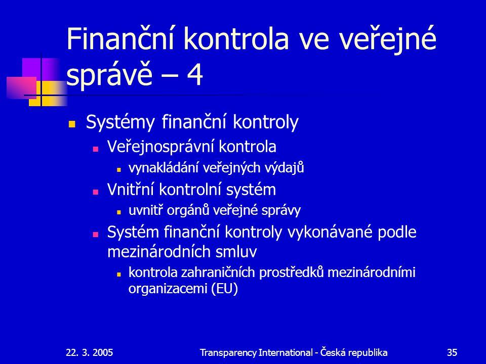 22. 3. 2005Transparency International - Česká republika35 Finanční kontrola ve veřejné správě – 4 Systémy finanční kontroly Veřejnosprávní kontrola vy