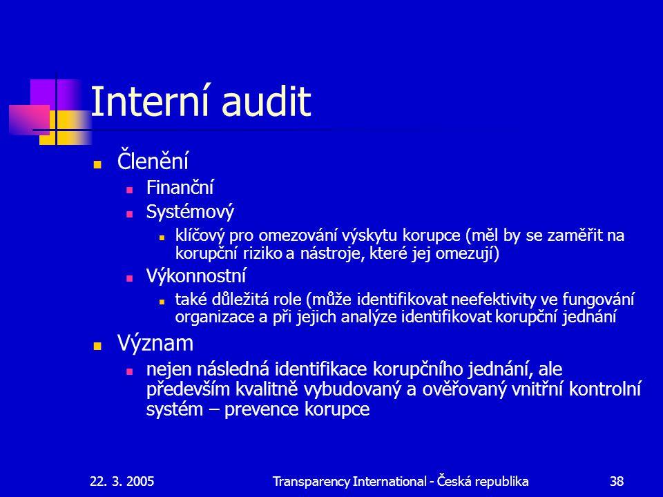 22. 3. 2005Transparency International - Česká republika38 Interní audit Členění Finanční Systémový klíčový pro omezování výskytu korupce (měl by se za