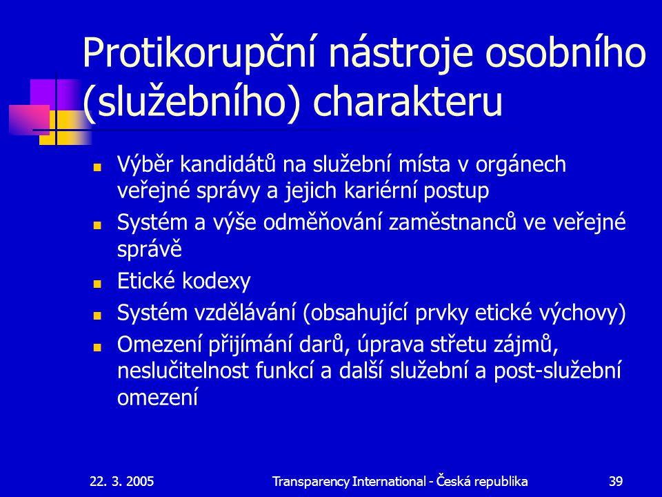 22. 3. 2005Transparency International - Česká republika39 Protikorupční nástroje osobního (služebního) charakteru Výběr kandidátů na služební místa v