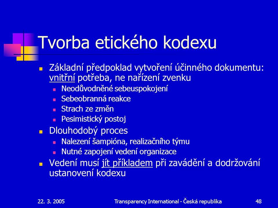 22. 3. 2005Transparency International - Česká republika48 Tvorba etického kodexu Základní předpoklad vytvoření účinného dokumentu: vnitřní potřeba, ne