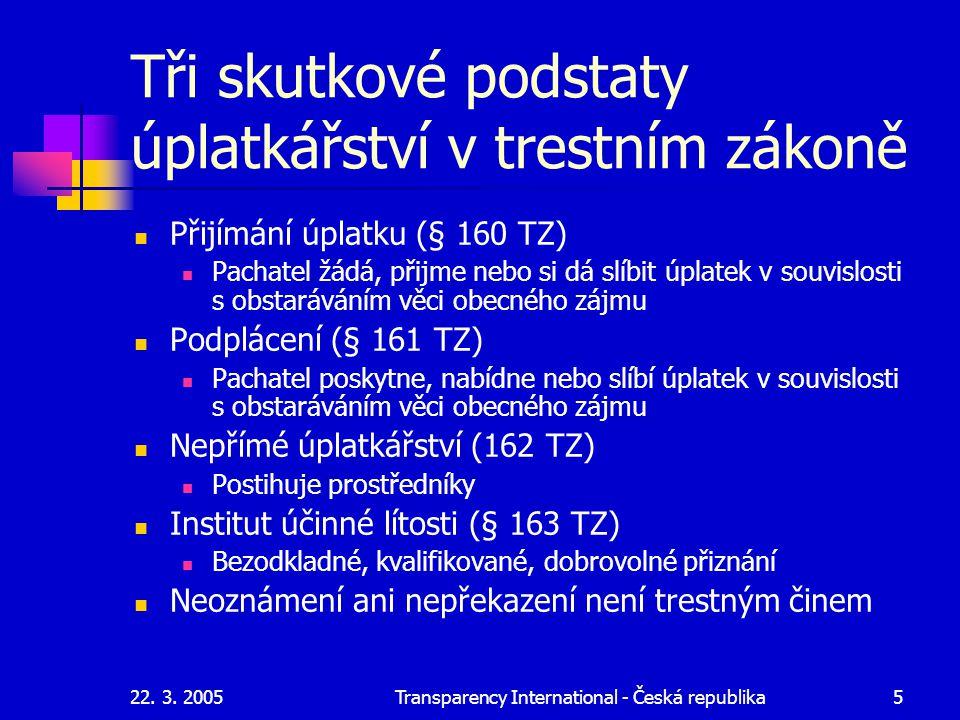22. 3. 2005Transparency International - Česká republika5 Tři skutkové podstaty úplatkářství v trestním zákoně Přijímání úplatku (§ 160 TZ) Pachatel žá