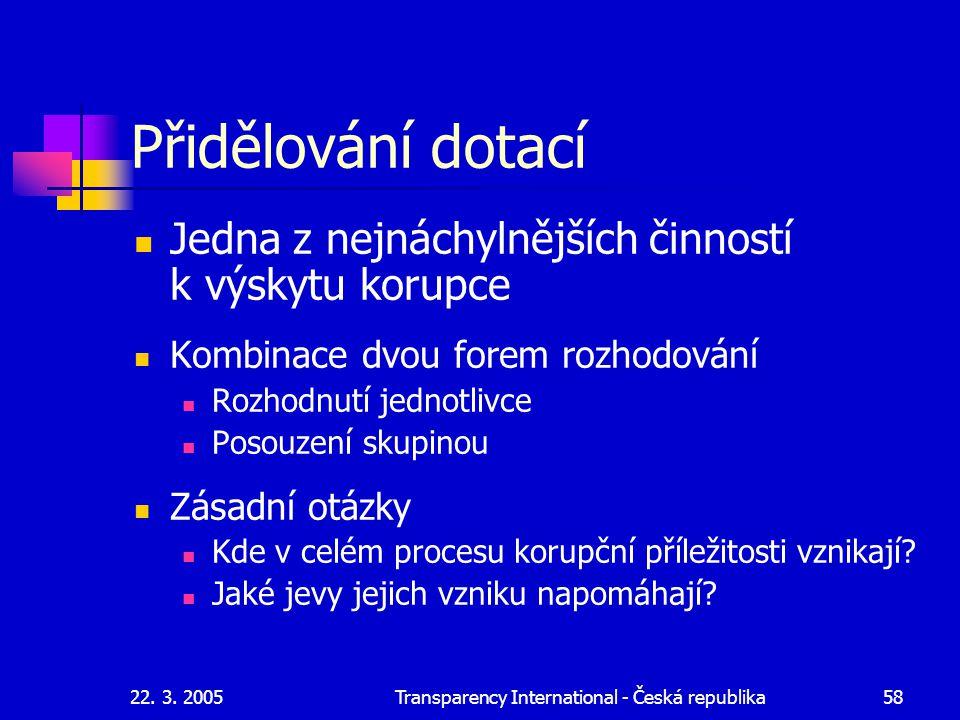 22. 3. 2005Transparency International - Česká republika58 Přidělování dotací Jedna z nejnáchylnějších činností k výskytu korupce Kombinace dvou forem