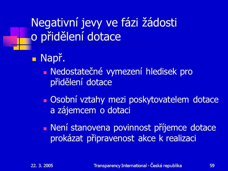 22. 3. 2005Transparency International - Česká republika59 Negativní jevy ve fázi žádosti o přidělení dotace Např. Nedostatečné vymezení hledisek pro p