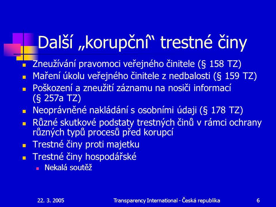 """22. 3. 2005Transparency International - Česká republika6 Další """"korupční"""" trestné činy Zneužívání pravomoci veřejného činitele (§ 158 TZ) Maření úkolu"""
