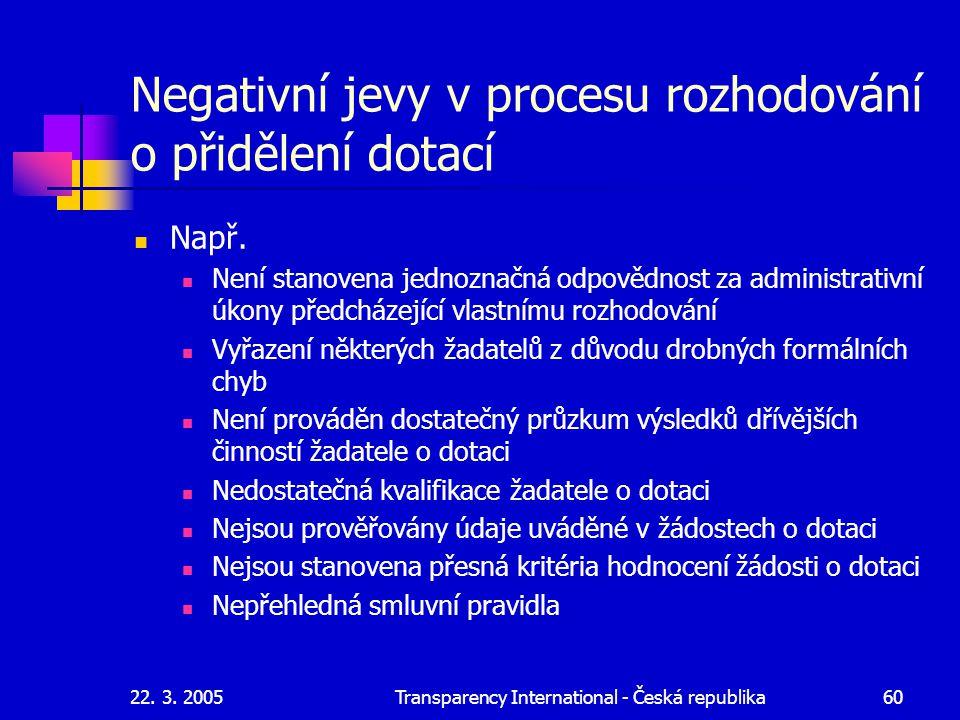 22. 3. 2005Transparency International - Česká republika60 Negativní jevy v procesu rozhodování o přidělení dotací Např. Není stanovena jednoznačná odp