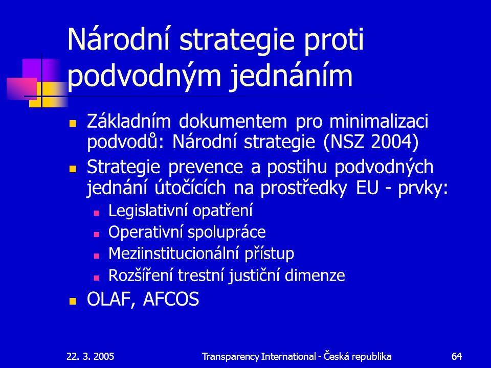 22. 3. 2005Transparency International - Česká republika64 Národní strategie proti podvodným jednáním Základním dokumentem pro minimalizaci podvodů: Ná