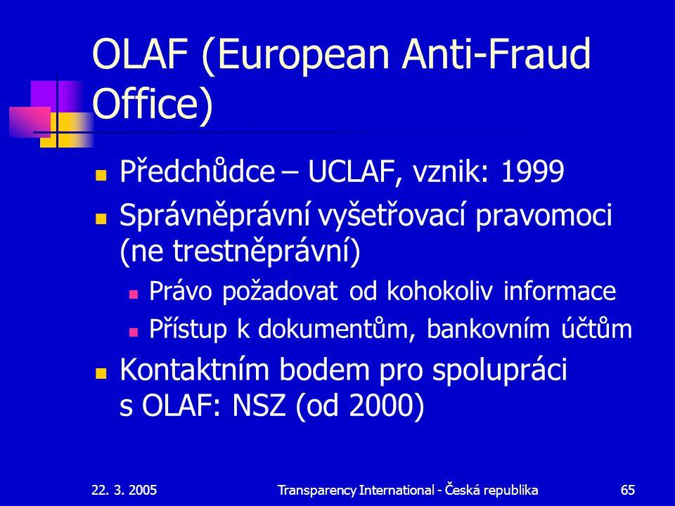22. 3. 2005Transparency International - Česká republika65 OLAF (European Anti-Fraud Office) Předchůdce – UCLAF, vznik: 1999 Správněprávní vyšetřovací