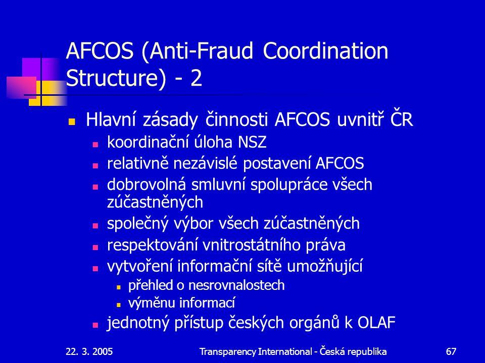 22. 3. 2005Transparency International - Česká republika67 AFCOS (Anti-Fraud Coordination Structure) - 2 Hlavní zásady činnosti AFCOS uvnitř ČR koordin