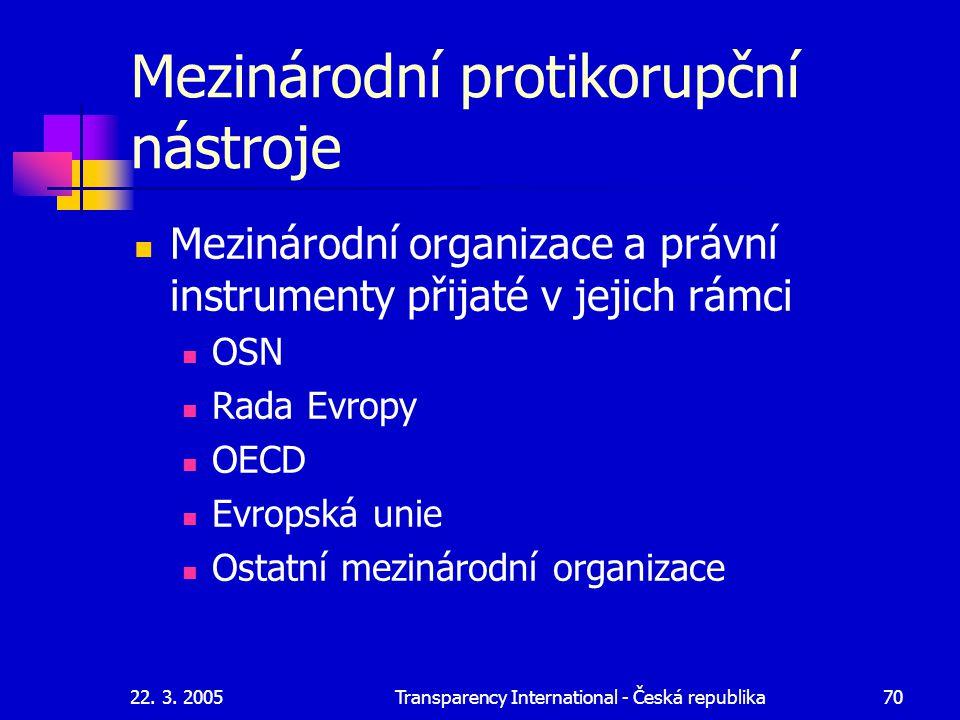 22. 3. 2005Transparency International - Česká republika70 Mezinárodní protikorupční nástroje Mezinárodní organizace a právní instrumenty přijaté v jej