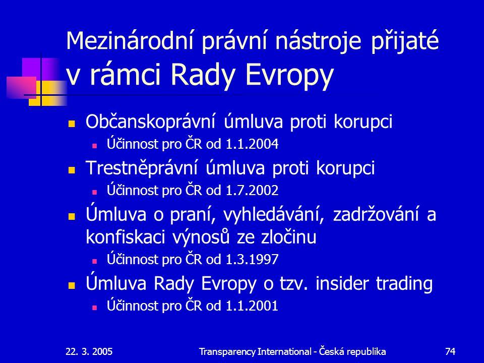 22. 3. 2005Transparency International - Česká republika74 Mezinárodní právní nástroje přijaté v rámci Rady Evropy Občanskoprávní úmluva proti korupci