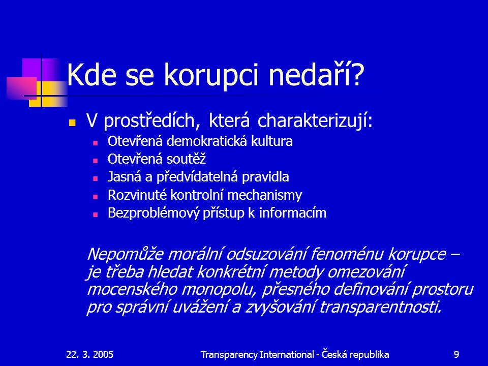 22. 3. 2005Transparency International - Česká republika9 Kde se korupci nedaří? V prostředích, která charakterizují: Otevřená demokratická kultura Ote