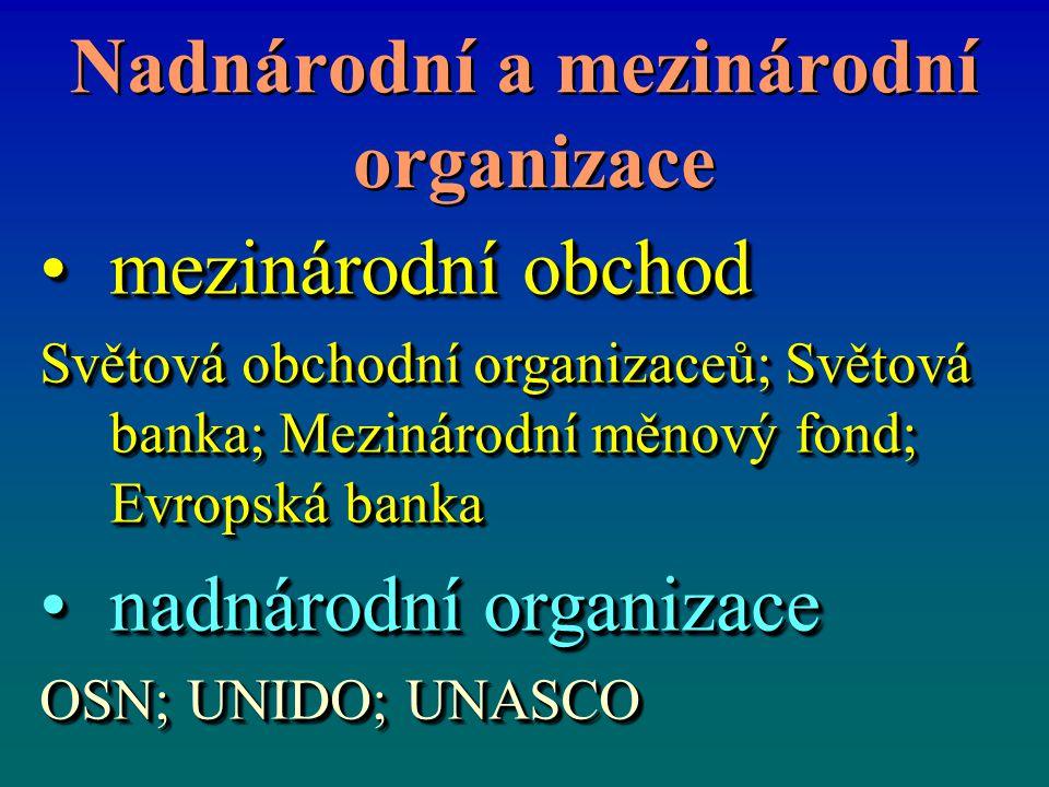 Nadnárodní a mezinárodní organizace Nadnárodní a mezinárodní organizace mezinárodní obchodmezinárodní obchod Světová obchodní organizaceů; Světová banka; Mezinárodní měnový fond; Evropská banka nadnárodní organizacenadnárodní organizace OSN; UNIDO; UNASCO mezinárodní obchodmezinárodní obchod Světová obchodní organizaceů; Světová banka; Mezinárodní měnový fond; Evropská banka nadnárodní organizacenadnárodní organizace OSN; UNIDO; UNASCO