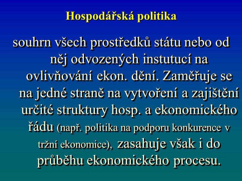 Hospodářská politika souhrn všech prostředků státu nebo od něj odvozených instutucí na ovlivňování ekon.