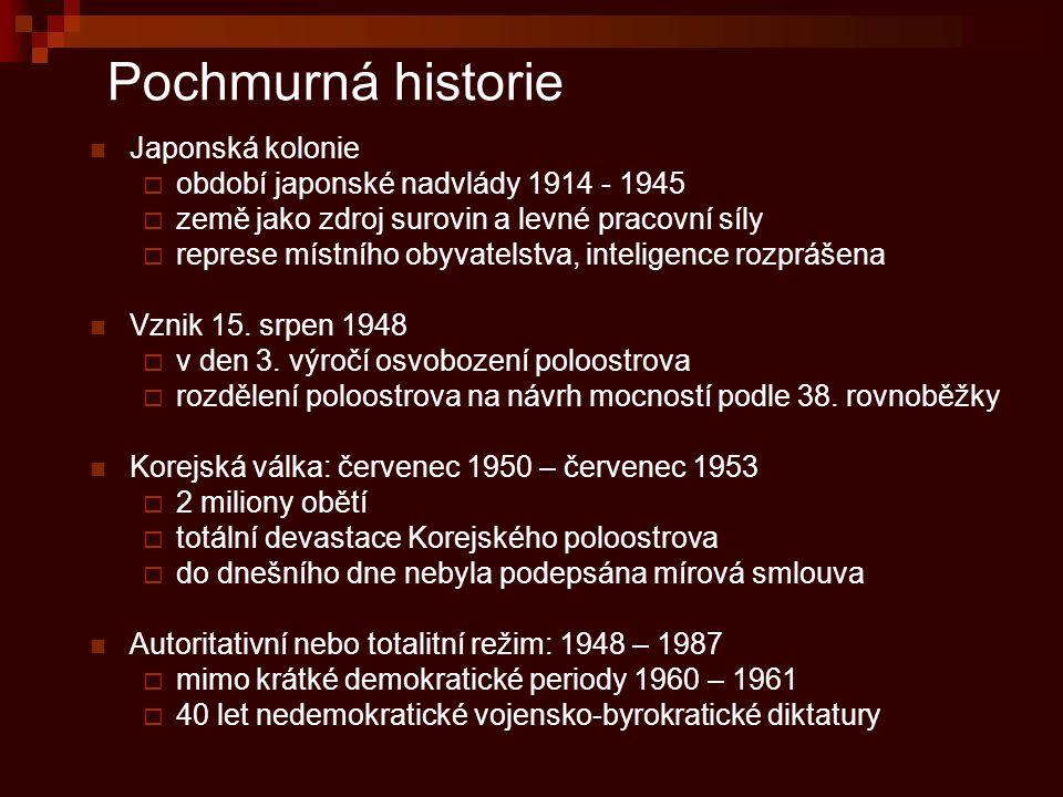 Pochmurná historie Japonská kolonie  období japonské nadvlády 1914 - 1945  země jako zdroj surovin a levné pracovní síly  represe místního obyvatel