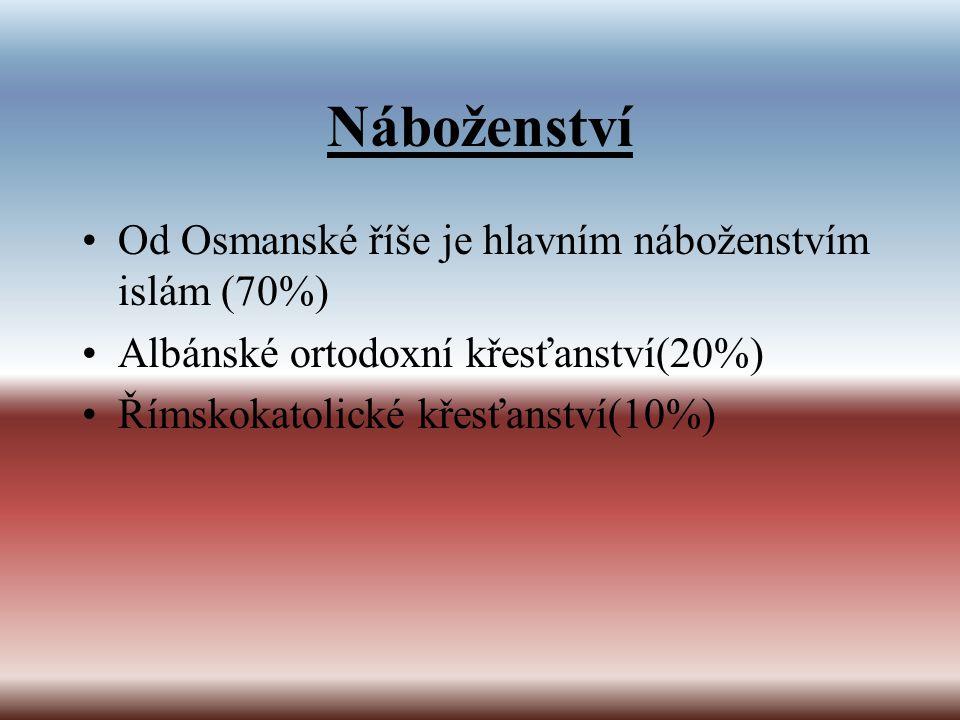 Náboženství Od Osmanské říše je hlavním náboženstvím islám (70%) Albánské ortodoxní křesťanství(20%) Římskokatolické křesťanství(10%)