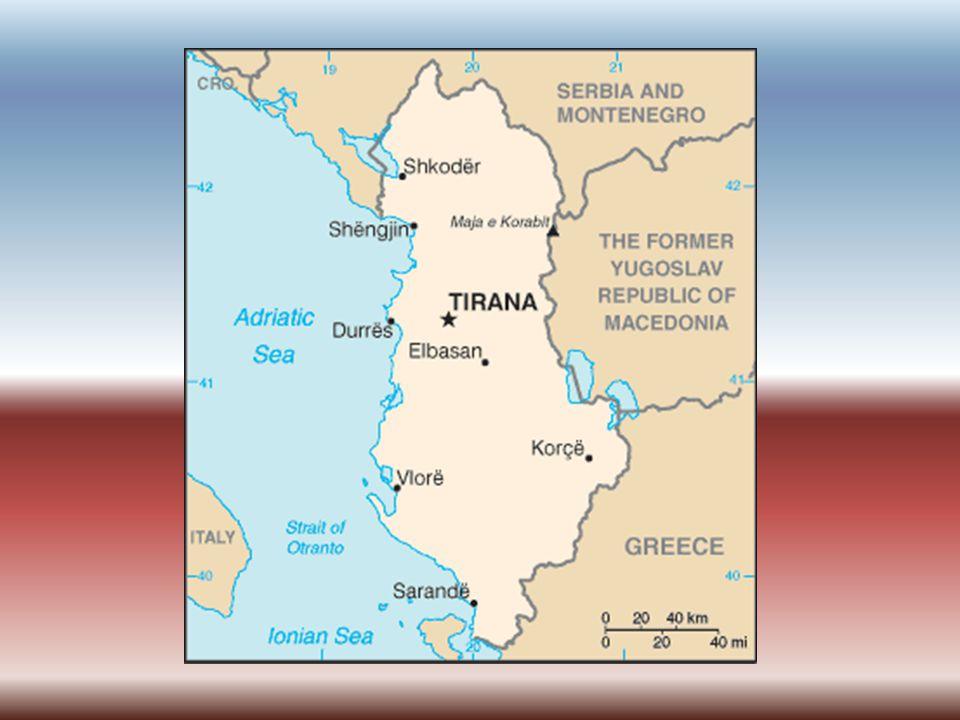 Základní údaje Hlavní město: Tirana (Tiranë)(353 400 obyv.) Rozloha: 28 748 km² (z toho 4,7 % vodní plochy) Počet obyvatel: 3 600 523 Jazyk: albánština Státní zřízení: republika Měna: albánský lek (=100 qindarka) (LK)