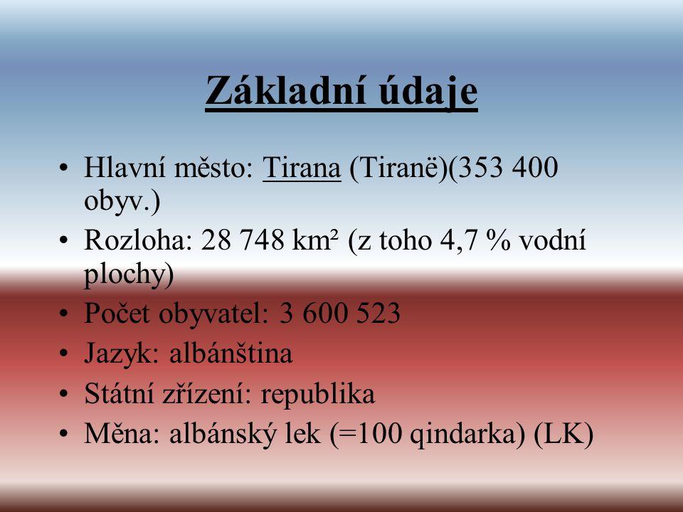 Základní údaje Hlavní město: Tirana (Tiranë)(353 400 obyv.) Rozloha: 28 748 km² (z toho 4,7 % vodní plochy) Počet obyvatel: 3 600 523 Jazyk: albánštin
