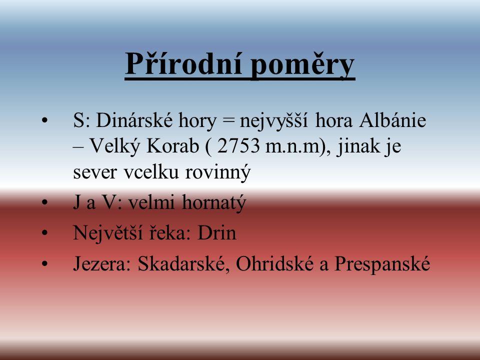 Přírodní poměry S: Dinárské hory = nejvyšší hora Albánie – Velký Korab ( 2753 m.n.m), jinak je sever vcelku rovinný J a V: velmi hornatý Největší řeka