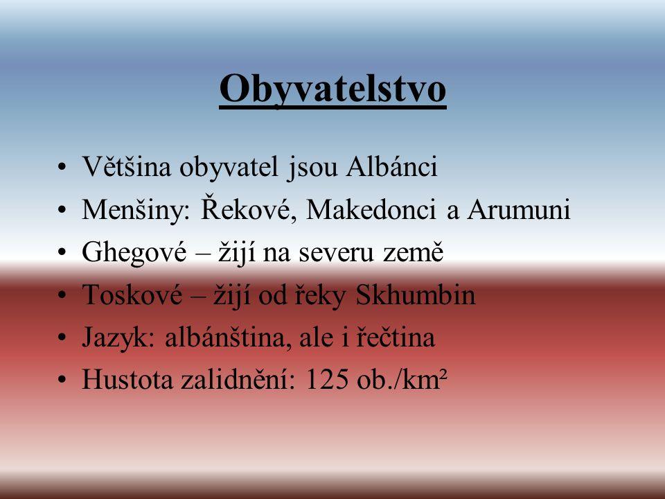 Obyvatelstvo Většina obyvatel jsou Albánci Menšiny: Řekové, Makedonci a Arumuni Ghegové – žijí na severu země Toskové – žijí od řeky Skhumbin Jazyk: a