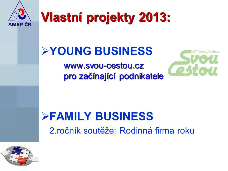 Vlastní projekty 2013:  YOUNG BUSINESS www.svou-cestou.cz pro začínající podnikatele  FAMILY BUSINESS 2.ročník soutěže: Rodinná firma roku