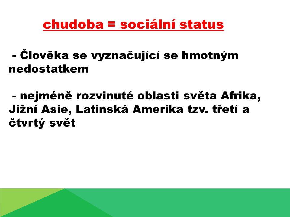chudoba = sociální status - Člověka se vyznačující se hmotným nedostatkem - nejméně rozvinuté oblasti světa Afrika, Jižní Asie, Latinská Amerika tzv.