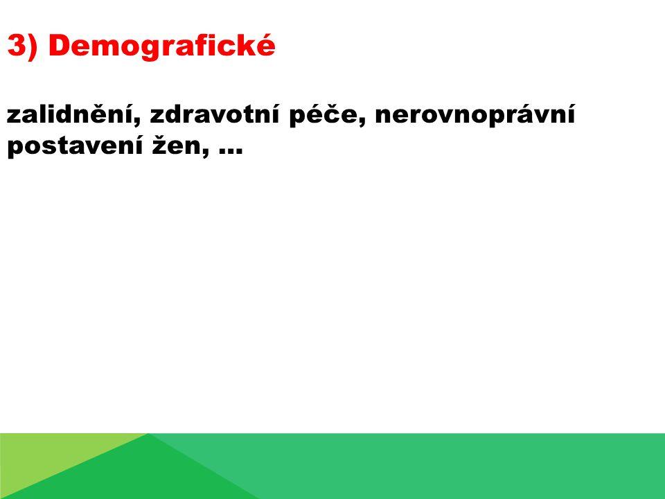 3) Demografické zalidnění, zdravotní péče, nerovnoprávní postavení žen, …