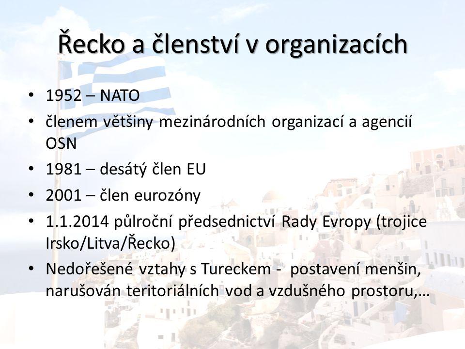 Řecko a členství v organizacích 1952 – NATO členem většiny mezinárodních organizací a agencií OSN 1981 – desátý člen EU 2001 – člen eurozóny 1.1.2014 půlroční předsednictví Rady Evropy (trojice Irsko/Litva/Řecko) Nedořešené vztahy s Tureckem - postavení menšin, narušován teritoriálních vod a vzdušného prostoru,…