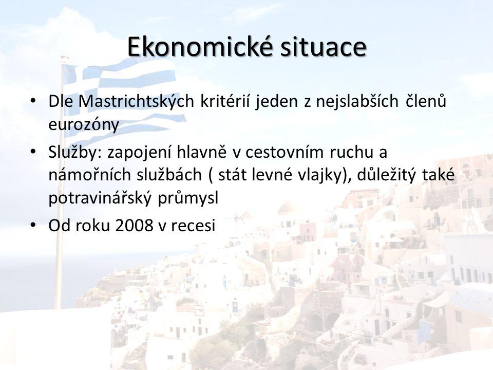 Ekonomické situace Dle Mastrichtských kritérií jeden z nejslabších členů euroz ó ny Služby: zapojení hlavně v cestovním ruchu a námořních službách ( stát levné vlajky), důležitý také potravinářský průmysl Od roku 2008 v recesi