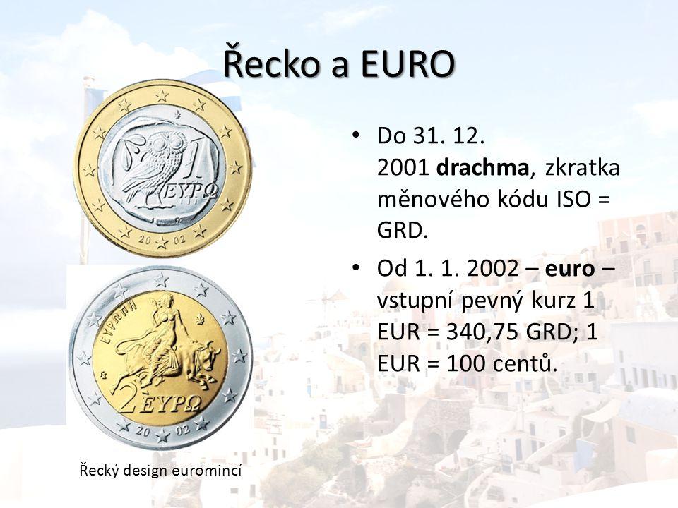 Řecko a EURO Do 31. 12. 2001 drachma, zkratka měnového kódu ISO = GRD.