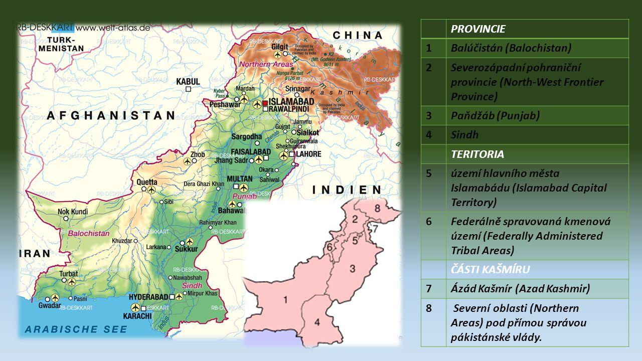 Oficiálny názov: Islamská republika Pakistan Hlavné mesto:Islamabad Rozloha: 803 940 km² Počet obyvateľov: 164,7 mil.