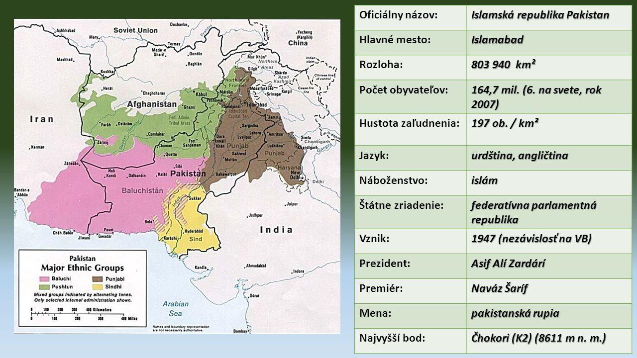 V roce 1999 - generál pákistánské armády Parvíz Mušaraf puč - chopil se moci V roce 1999 - generál pákistánské armády Parvíz Mušaraf puč - chopil se moci Prezentuje se jako spojenec USA a bojovník proti terorismu Prezentuje se jako spojenec USA a bojovník proti terorismu Po 11.